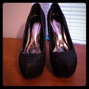 Black sparkle high heels